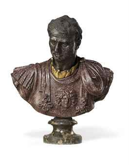 A CARVED PORPHYRY BUST OF A ROMAN CONSUL ITALIAN, THE SHOULDERS 16TH OR 17TH CENTURY, THE HEAD PROBABLY 17TH CENTURY On a circular scagliola socle; dark porphyry head set into porphyry shoulders; with a gilt-bronze collar 23 1/8 in. (58.9 cm.) high; 28½ in. (72.7 cm.) high, overall