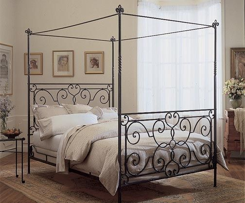 florentine forged iron canopy bed room view - Iron Canopy Bed Frame