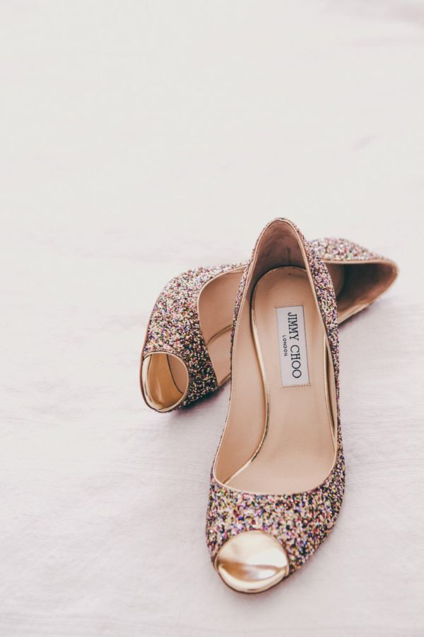 glittery Jimmy Choos, photo by Christine Lim http://ruffledblog.com/berkeley-church-wedding #weddingshoes #jimmychoo I need these.