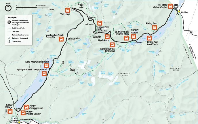 shuttle stop map on the going to the sun road going to the sun