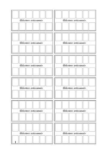 Cartelas Moldes Prontos Para Imprimir Adesivos Impressos