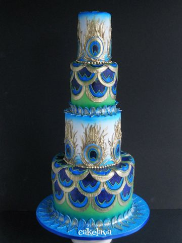 Art Deco peacock wedding cake, I would love this as a birthday cake though!! - perfect colours!