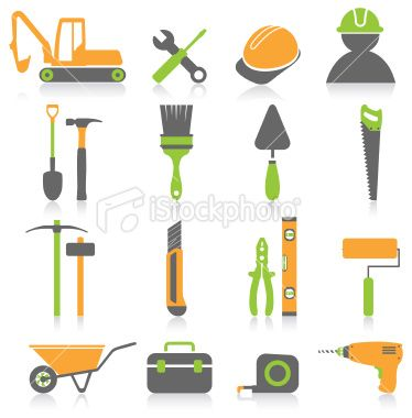 stock illustration tool and construction icon set