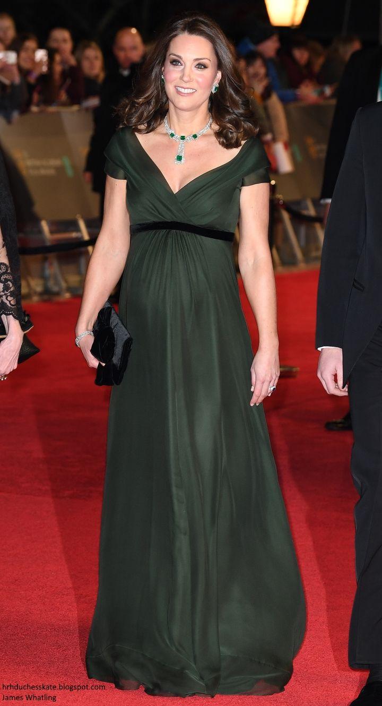 Duchess Kate: The Duchess in Green Jenny Packham & Stunning Emeralds for the BAFTAs