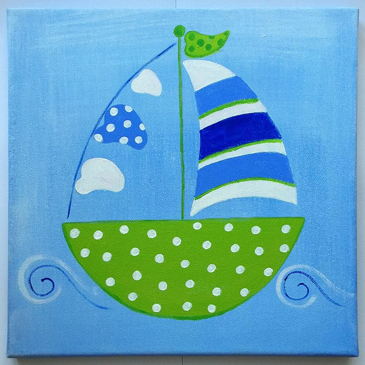 Handmade children's canvas painting with a boat in shades of blue, green and white.