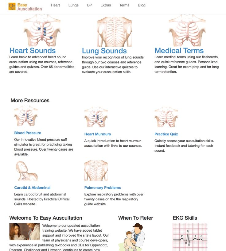 Learn essential auscultation skills. Free auscultation instruction with text, audio and video. Heart and lung sounds as well as blood pressure lessons.
