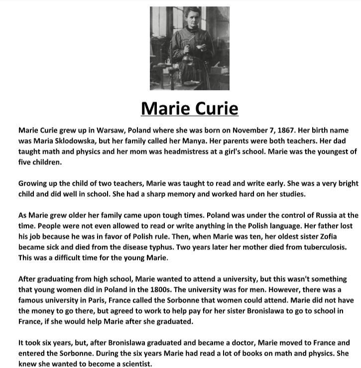 Marie Curie Biography And Assignment Marie Curie Biography