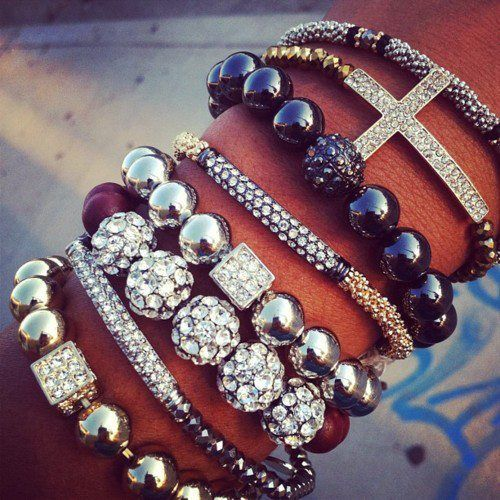 Stacked Bracelets with Clunky Look #bracelets #jewelry