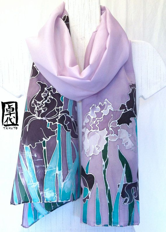 Hand Painted Silk Shawl Floral. Luxury Silk. by SilkScarvesTakuyo, $160.00