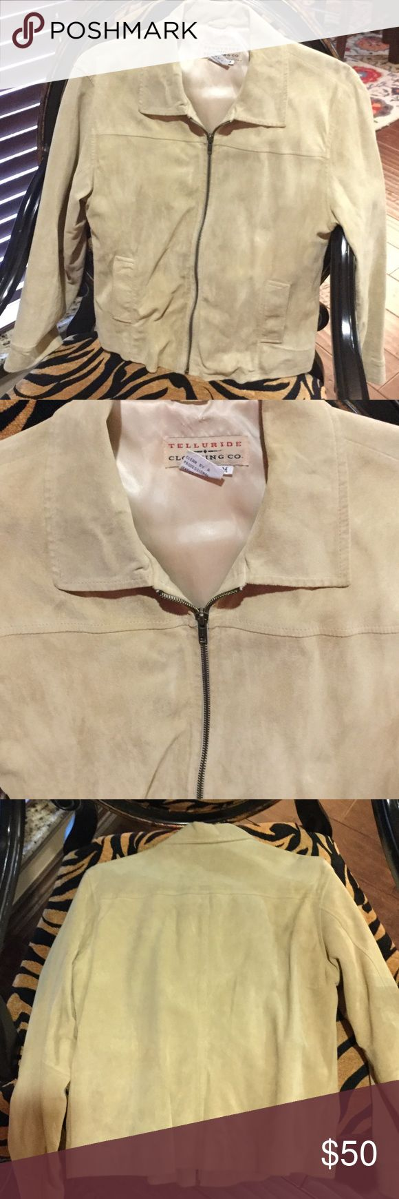 Leather suede jacket A classy jacket in 100% genuine leather. Suede is Beige color, has pockets in front, zips up, lining made of 50/50 nylon and acetate. Telluride Clothing Company Jackets & Coats