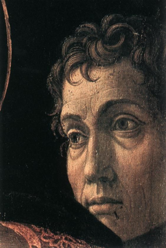 Mantegna Andrea. Presentation at the Temple (detail); c. 1460. Tempera on wood. Staatliche Museen, Berlin