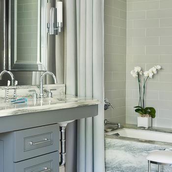 Gray Brick Tile Shower Surround, Contemporary, Bathroom, Mark Williams  Design Part 87