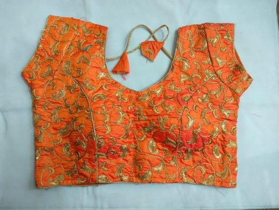 New Readymade ORANGE Ready made Choli Stitched Top Saree Wedding Art Silk Floral FULLY Embroidered Work Blouse Party Sari Tunic for Women