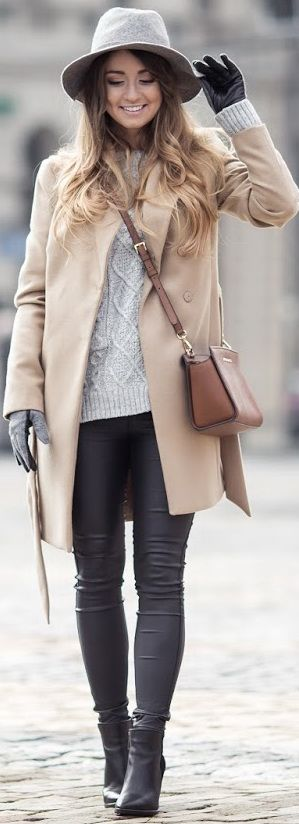 ❤ ❤Camel coat, grey sweater, gloves & hat, black skinny jeans & booties, camel crossbody bag