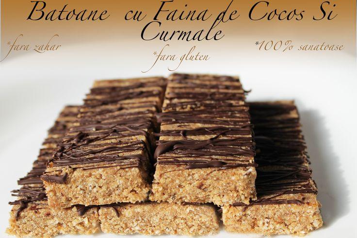 Batoane cu Faina de Cocos si Curmale (fara zahar, fara gluten, 100% sanatoase)