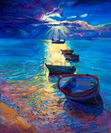 Pintura al �leo abstracta original de los barcos de pesca y el mar en canvas.Sunset sobre ocean.Modern Impresionismo photo