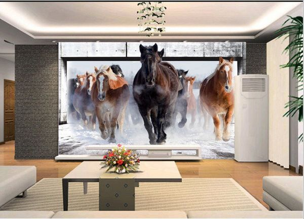 Wallpaper 3d Running Horses Theme Wallpaper for Walls Material: Non-Woven. Listing is for 1 Piece. Waterproof ,Moisture-Proof, Mould-Proof, Smoke-Proof, Fireproof, Soundproof, Heat Insulation, Anti-st