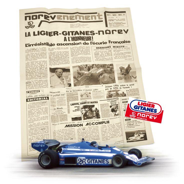 1977 - The very young French Ligier-Gitanes team is already victorious during the Formula 1 GP of Sweden and glorifies in the same time Guy Ligier and the driver Jacques Lafitte running on the JS 7 sponsored by Norev / A peine plus d'un an après sa création, l'écurie Française Ligier-Gitanes est déjà auréolée d'une belle victoire au Grand Prix de Formule 1 de Suède. Elle consacre pour la première fois Guy Ligier et le pilote Jacques Lafitte au volant de la JS 7 aux couleurs de Norev.