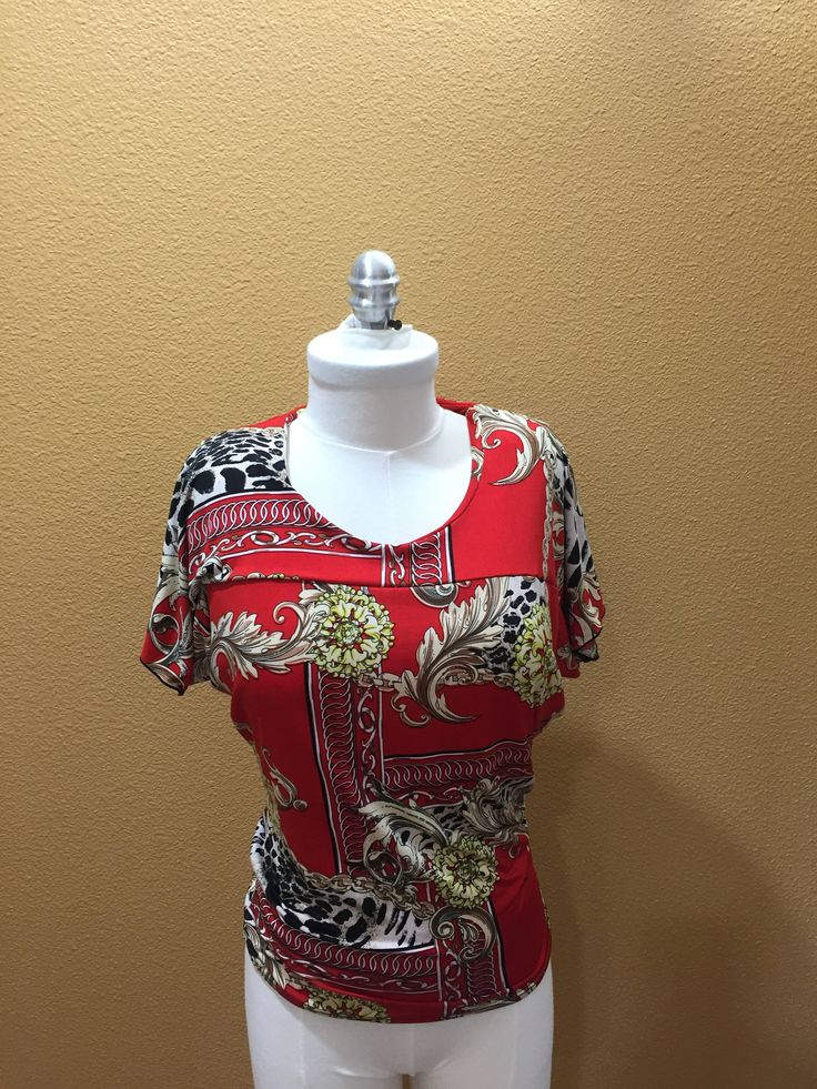 Stretch T-Shirt - Mini Batwing New Designer Original Blouse Multi-Colored Red and Gold Animal Print Blouse by UniqueClothesStore on Etsy