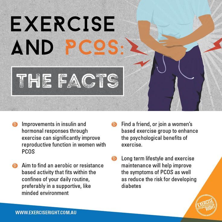 There are several ways in which exercise can help prevent and aide the symptoms of PCOS.  #PCOS #PolycysticOvarianSyndrome #Exercise #WomensHealth #Infographic #ExercisePhysiology