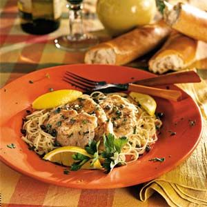 Turkey Tenderloin Scaloppine | MyRecipes.com My kids love this one except I use broth instead of wine and double the garlic.
