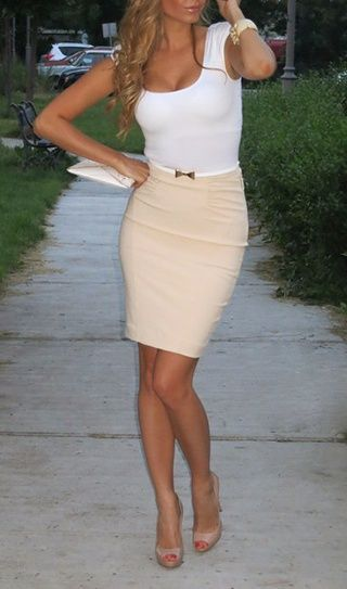 Green Skirt And Tan Pantyhose 23
