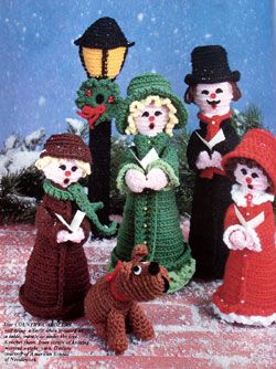Crochet Christmas Carolers - I have a set of these (they were on our mantle this year) made by Mom several years ago.  She made MANY sets of these over the years!!!!  --Bonnie