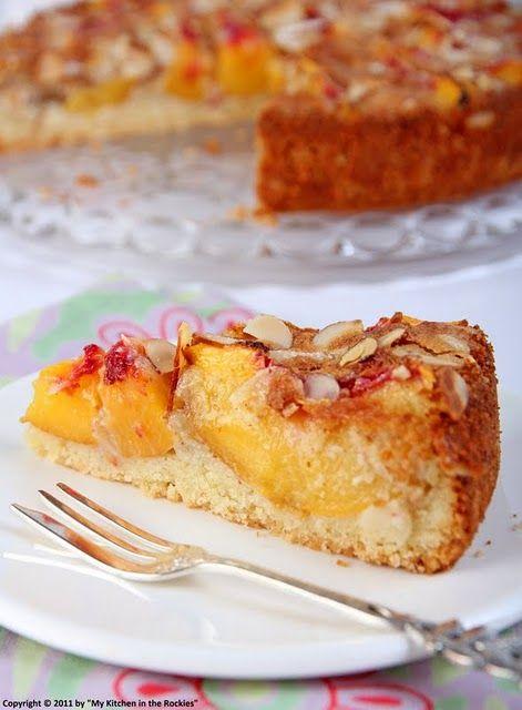 German Almond Peach Cake