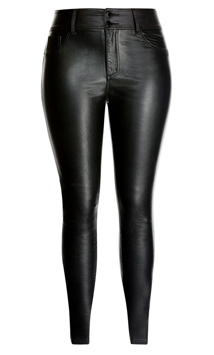 Slither in style with the sexy Slither Skinny Jean.    Key Features Include:  - Front faux snakeskin texture  - Super stretch coated denim back  - Skinny cut from hip to hem  - High retention fibres to maintain shape  - Signature Chic Denim black hardware throughout zips, buttons and rivets  - Double button and fly fastening  - Faux front pockets, back patch pockets  - Deep onyx black colouring