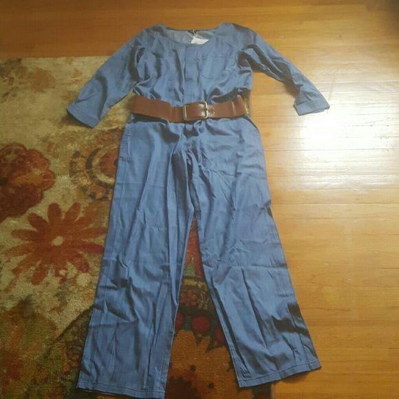 Jean  jumpsuit Blue Jean jumpsuit it looks big but it's not once you put it on. H&M Jeans Flare & Wide Leg