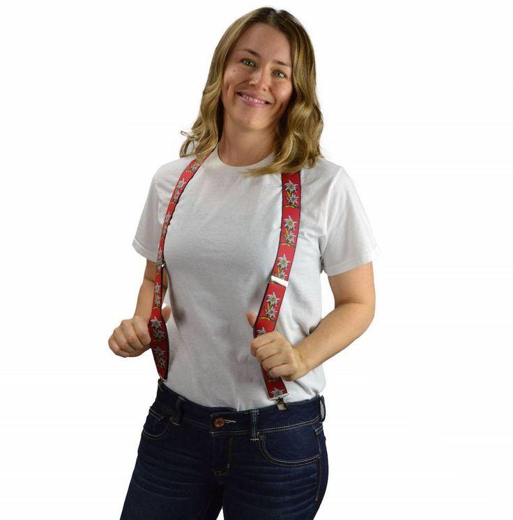 Oktoberfest Costume Suspenders: Edelweiss