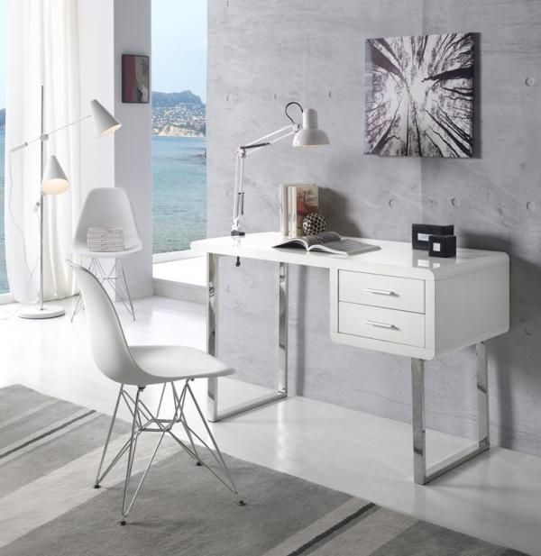Mina Modern Study Desk 2 Drawers White High Gloss Chromed Legs Study Desk Modern Contemporary Bedroom Furniture Furniture