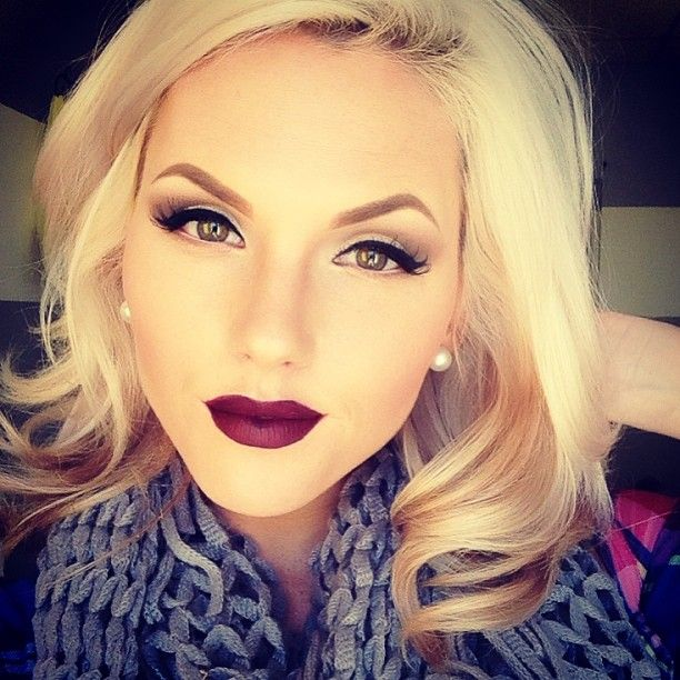 winter makeup and oxblood lips.