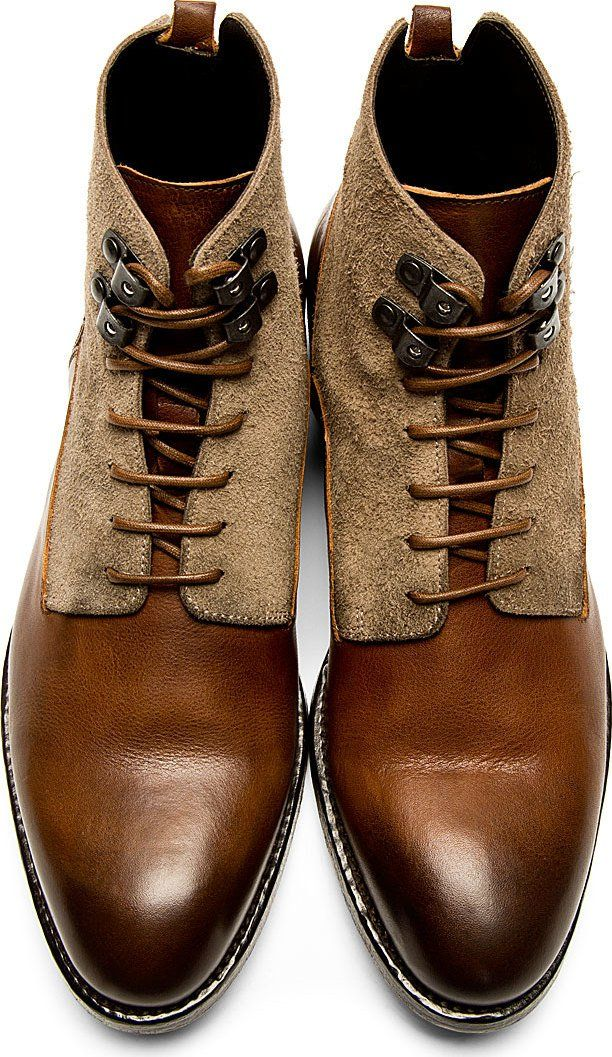 Alexander McQueen Brown Burnished Leather Boots #menstyle