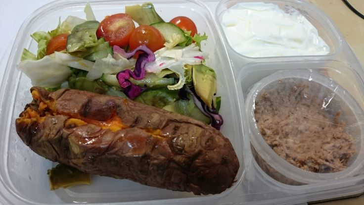 Salad, sweet potato , tuna and yoghurt