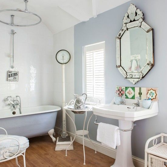 Awesome Websites Soft blue and white French style bathroom