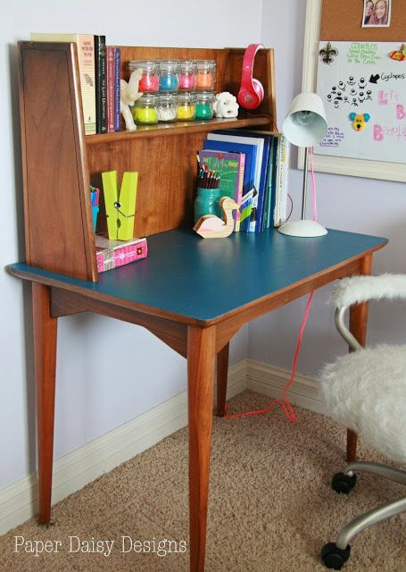 i love this blue with the natural wood. maybe inside of a bookshelf? Reviving Mid-Century Modern, a curbside rescue