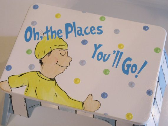 DR SEUSS Oh The Places You'll Go Hand Painted Stool www.funkyletterboutique.com
