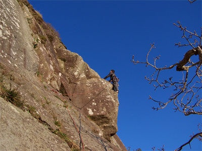 Poor Man's Peutery, Tremadog. My first roped rock climb.