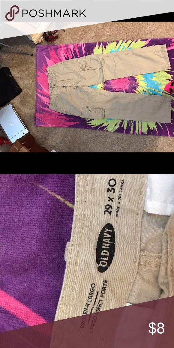 Men's Khaki pants Men's Cargo khaki pants. Size 29x30. Only worn a few times. Old Navy Pants Cargo