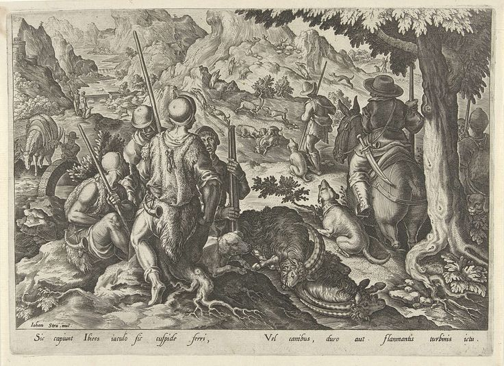 Philips Galle | Jacht op berggeiten, Philips Galle, 1578 | In de voorgrond enkele jagers met hun jachtbuit Op de achtergrond worden twee berggeiten aangevallen door een roedel jachthonden. De prent heeft een Latijns onderschrift en maakt deel uit van een 43-delige serie over de jacht.