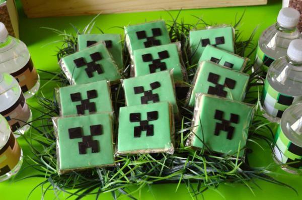 Minecraft COOKIES from a Vintage Minecraft Party found via Kara's Party Ideas   KarasPartyIdeas.com