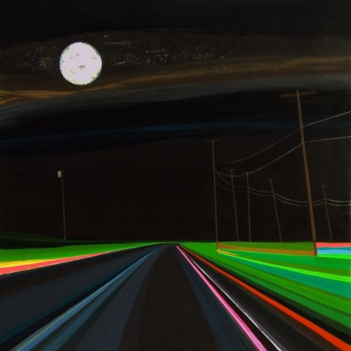 """Grant Haffner """"Goodnight Napeague"""" Acrylic on wood panel, 2011   24 x 24 inches  Signed, titled and dated verso"""
