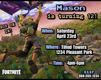 Fortnite Party Invitation Option 3 Bday Pinterest Party