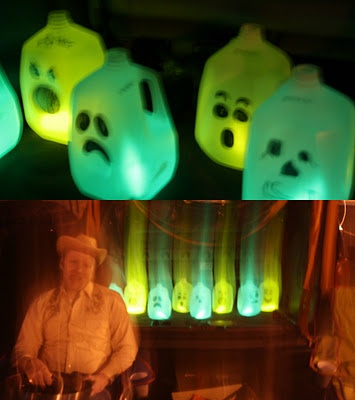 trunk or treat idea milk jugs ghost faces glow sticks