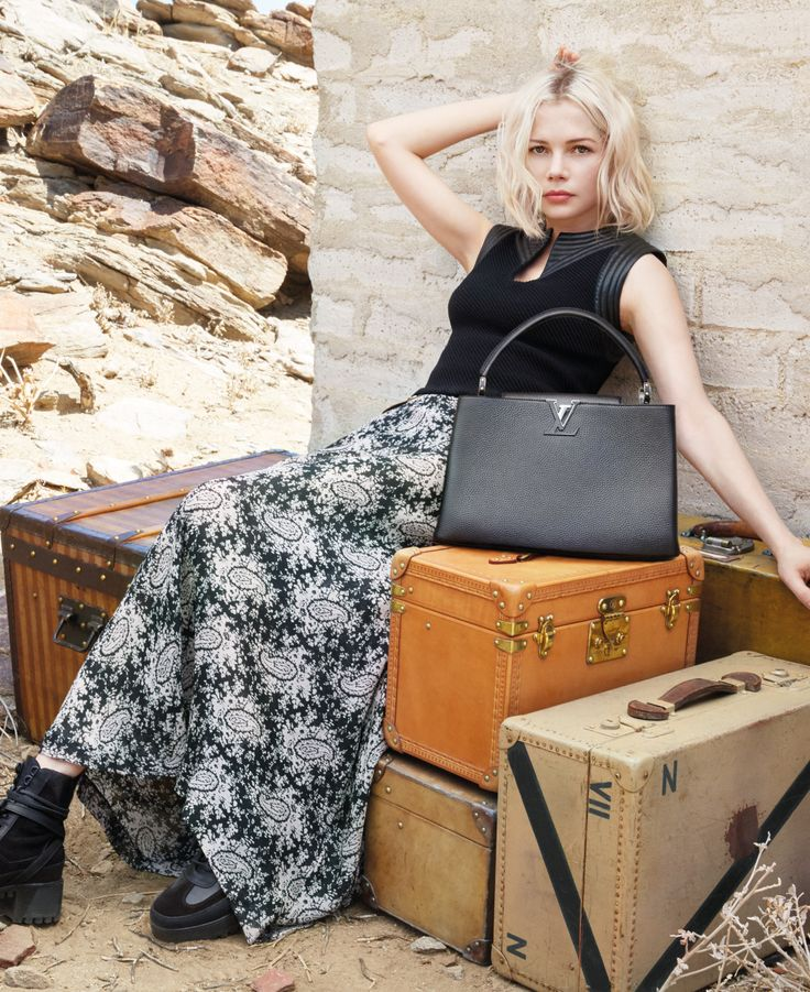Michelle Williams with a Capucines handbag for the Spirit Of Travel campaign by LouisVuitton in Palm Springs, California. Click through to discover the campaign