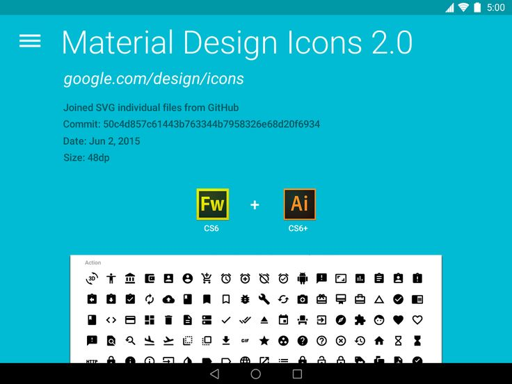 Material Design Icons 2.0 for FW & AI