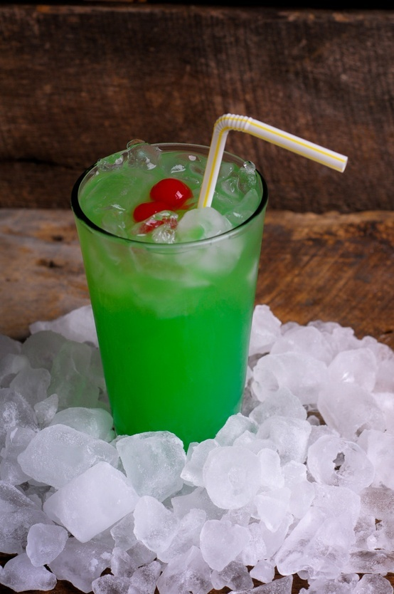 Liquid Marijuana .  The recipe: 1/2 ounce Malibu rum 1/2 ounce light rum 1/2 ounce blue curacao 1/2 ounce apple pucker (or melon liqueur) Equal parts sweet 'n sour mix + pineapple juice Garnish with a cherry