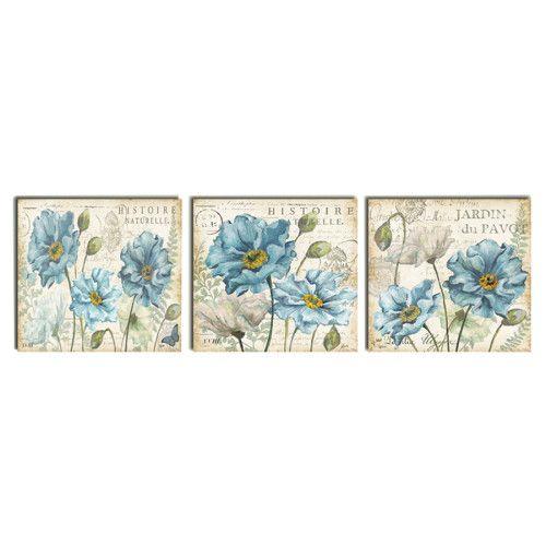 Dekorev  3 Parçalı Dekoratif Vintage Tablo Mavi Çiçekler 29,99 TL