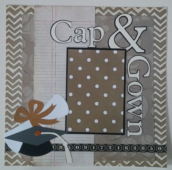 Cap and Gown * Graduation * High School * College * premade scrapbook layout page Ohioscrapper